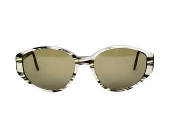 vintage oval sunglasses - gray gold black sun glasses for women - original 80s eyewear - gift for mom - glenda 625