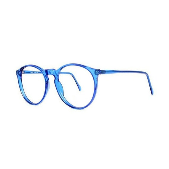 vintage blue round glasses oversized eyeglasses | Etsy