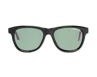 vintage black sunglasses purple temples - vintage wayfarer sunglasses - 80s hipster style sun glasses by la gear