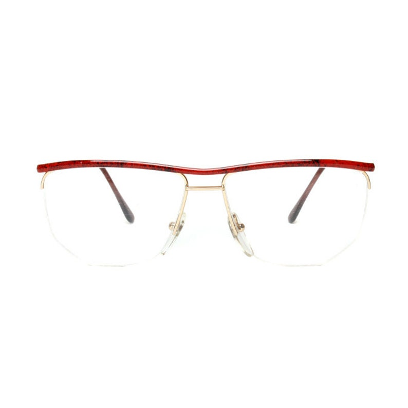 52492f5e41 Gold red vintage eyeglasses metal wire frame glasses semi