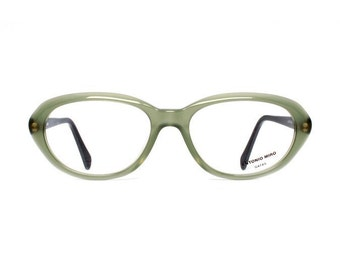 vintage green glasses - oval womens eyeglasses from the 1980s - new true vintage / no retro - Antonio Miro dehesa - modvintage eyewear