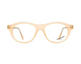 pastel pink glasses frames - salmon vintage eyeglasses for women - Antonio Miro maquillaje