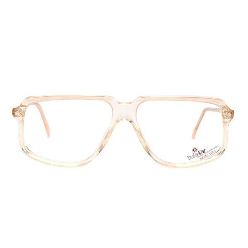 beige transparent vintage eyeglasses  square flat top glasses image 0
