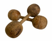 Vintage Wooden Dumbbells, Antique Wood Barbells, Work Out Room Decor