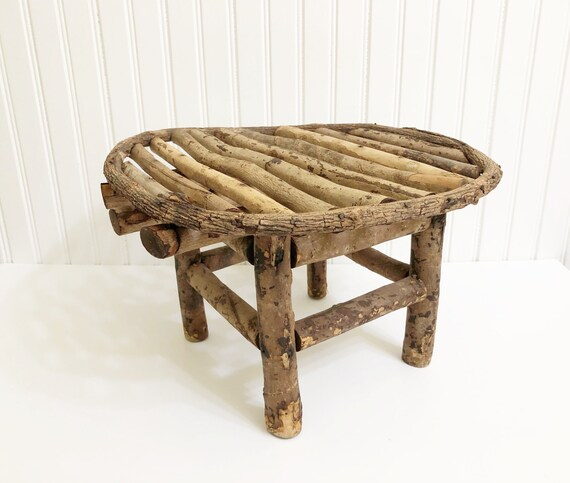 Tremendous Vintage Twig Stool Adirondack Bench Rustic Farmhouse Style Small Primitive Bench Pabps2019 Chair Design Images Pabps2019Com