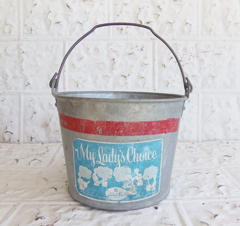 Christmas Red Stripe My Lady/'s Choice Laundry Room Decor Vintage Galvanized Pail