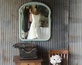 A Q U A , Hand Painted Mirror Worn Patina