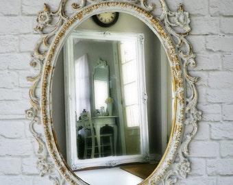 S H A B B Y, Chippy White Vanity Dressing Mirror Nursery