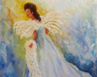 Angel spiritual Christian wings pallete knife art Giclee CANVAS Print of original oil painting by Sandra Cutrer Fine Art