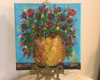 "Art original flowers vase gold textured impressionist thick acrylic oil paint 8"" x 8"" palette knife canvas"