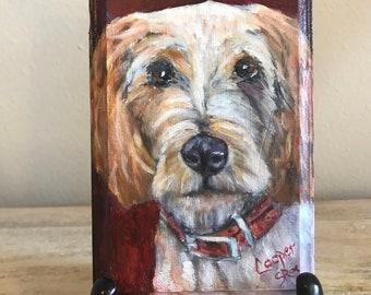 Pet Portrait Ornament Oils on wood small art original