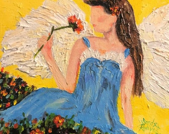 """Art Original Angel flowers garden thick texture palette knives spiritual oil painting 8"""" x 8"""" stretched canvas impressionism"""
