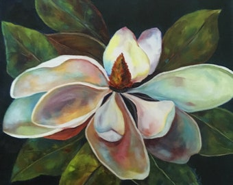 or Canvas Print Poster Wall Art Jar of Magnolias Flower Oil Painting Paper