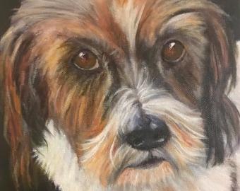 Dog Pet Portrait Original Oil Painting
