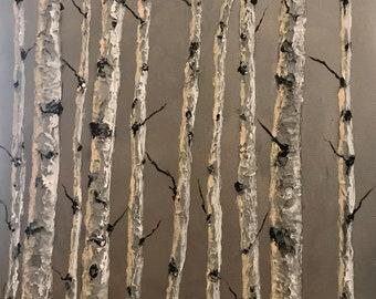 Art Aspen Birch trees original palette knife landscape thick paint
