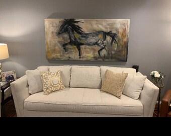 Horse impressionism Original art oil painting custom order animal