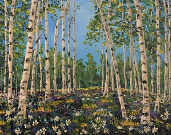 Aspens in the Spring palette knife original canvas art landscape