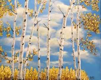 Art Sunshine fall leaves Autumn Aspen trees sky thick paint original palette knife art canvas