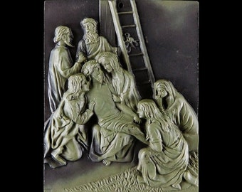 Carved Gemstone Pendant Bead Stations of the Cross 60mm - 13th Station