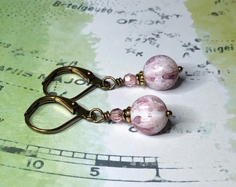 Czech Glass and Swarovski Crystal Melon Earrings