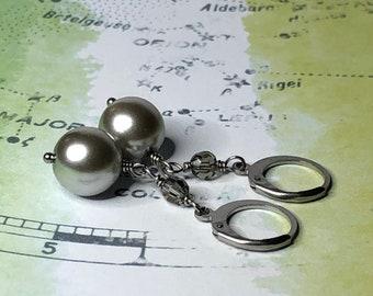 Czech Glass Pearl and Swarovski Crystal Earrings