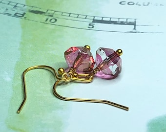 Pink and Fire Polished Gold Lustre Czech Glass Earrings