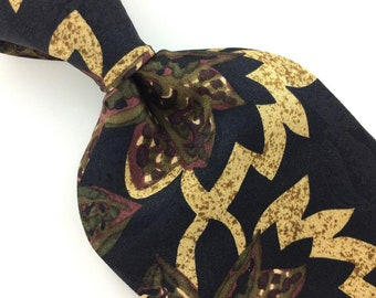 Vintage 59/'/' Long Stafford Rectangles Olive Green Black Necktie I1-400   Excellent Ties Designer Corbata Krawatte Cravatta Cravate