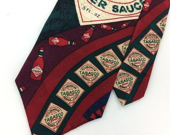 Tabasco Usa Made  Geometric Deco Maroon Sauce Bottles Silk Necktie I13-90 Excellent Vintage Corbata Krawatte Cravatta Cravate