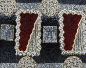 "Vintage XL 63"" Alexander Lloyd Darkred Slategray Geometric Tie Necktie #A1-32 q1"