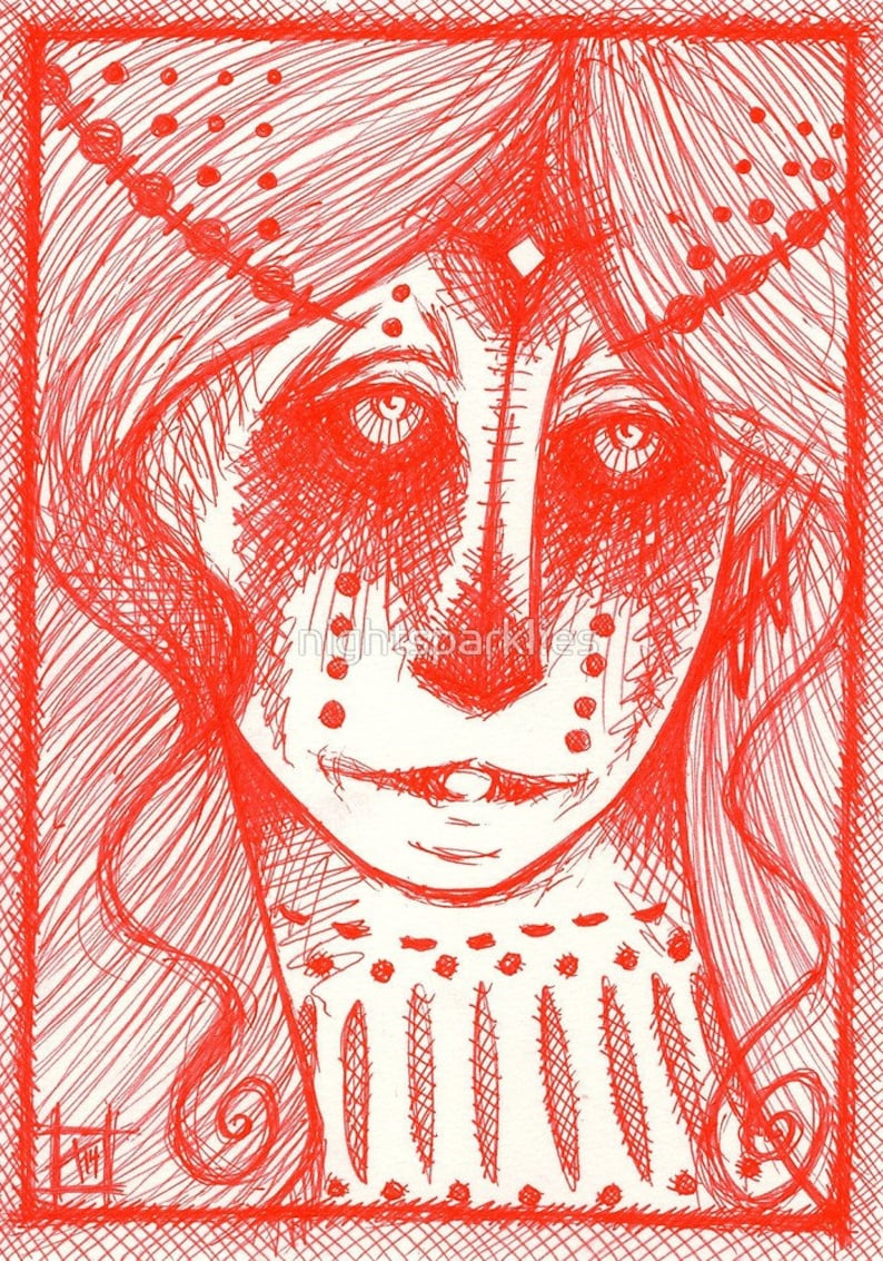 tattoo art 4x6 printed postcard pagan art pop surreal mystical art elf art fantasy postcard magic art spirit guide fairy postcard