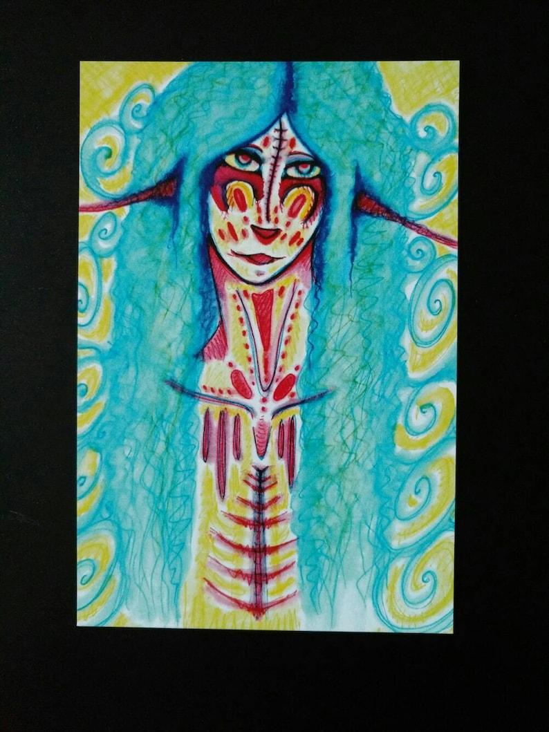 fairy tale part psychedelic art elf art mystical magical magic art pop surreal 4x6 printed postcard fantasy postcard fantasy artwork