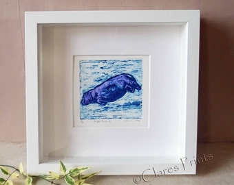 Hippo 2 Art Print Limited Edition Hand-Pulled Collograph