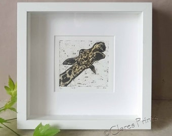 Giraffe Art Print Limited Edition Hand-Pulled Collograph