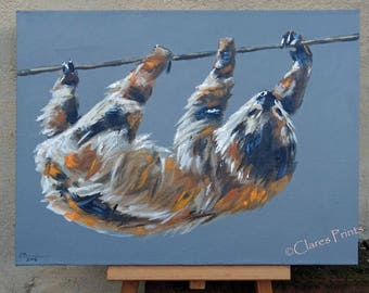 Sloth Art Original Acrylic Animal Painting on Canvas OOAK