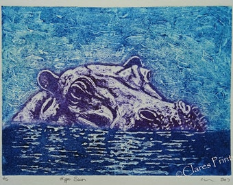 Hippo Art Print Limited Edition Hand-Pulled Collograph