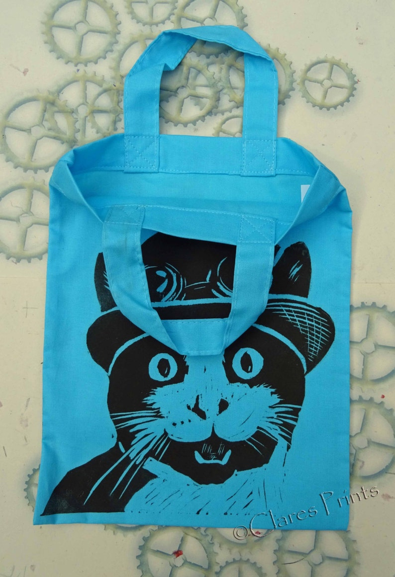 Steampunk Cat Bag Hand Printed Mini Tote Shopping Bag Children