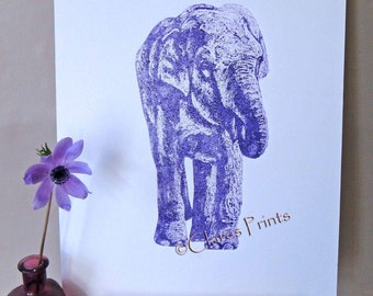 Purple Elephant Art Limited Edition Hand-Pulled Collograph Print