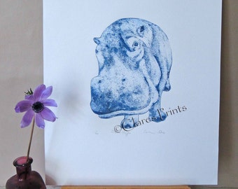 Blue Hippo Art Limited Edition Hand-Pulled Collograph Print