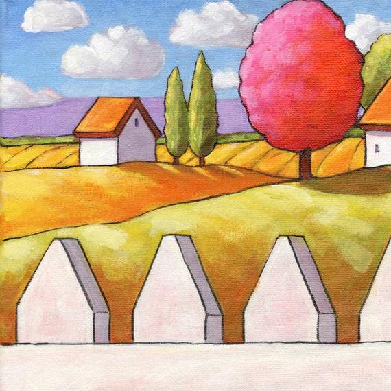 PINTURA ORIGINAL Folk arte primavera tulipanes jardín paisaje | Etsy