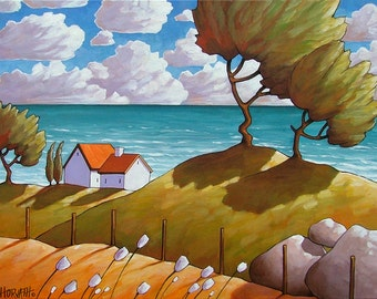 Seaside Windy Wave Cottages Art Print, Coastal Folk Art Summer Seascape, Modern Reproduction 11x14 Giclee Artwork by Cathy Horvath