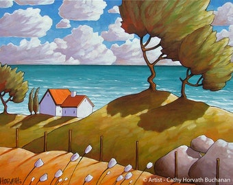 Coastal Folk Art Print Summer Seascape Seaside, Windy Wave Cottages, Modern 8x11 Acid Free Giclee Artwork by Cathy Horvath Buchanan