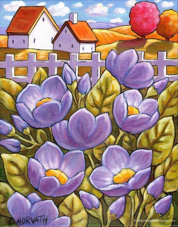 Country Flowers Original Painting 11x14 Purple Floral Garden Etsy