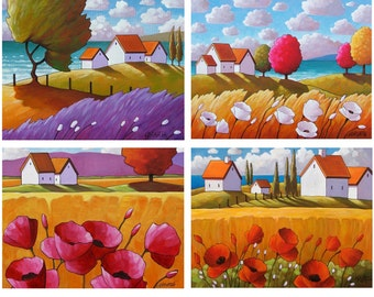 Set of 4 Country Flower Folk Artwork Giclees, Summer Cottages Landscape 5x7 Print Set, Affordable Wall Art Print Collection by Cathy Horvath