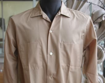 Vintage 1960s Men's Beige Richman Brothers Long Sleeve Shirt