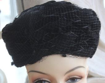 Vintage 1950s Black Braided Velvet Hat NOS New Old Stock