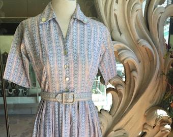 Vintage 1950s 1960s Cotton Pink Blue Print Shirtwaist Dress 34 Bust 24 Waist