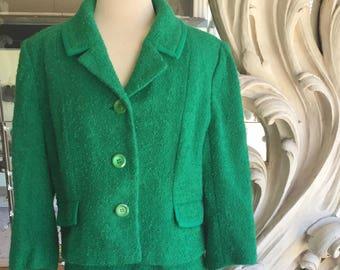 Vintage des années 1960 laine vert Boucle carrée veste tailleur