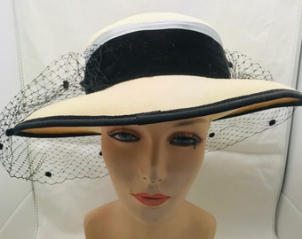 Vintage Cream Wool   Black Velvet Wide Brim Netted Hat 7b27c3eba1d3
