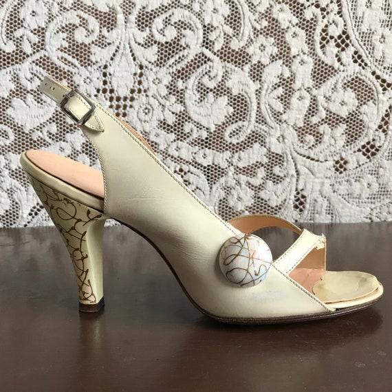 Vintage 1940s 1950s Hand Painted High Heel Open T… - image 4