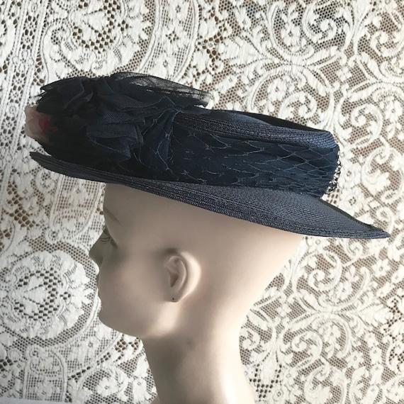 Vintage 1940s Navy Blue Straw Wide Brim Hat with … - image 5